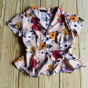 NWOT Madwell Button Up Floral Peplum Blouse